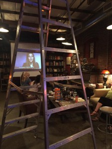 "Dress rehearsal for The Borders Project reading in the Warhorse at Atlanta's Goat Farm Arts Center. Onscreen is Kulović Selma reading from her short story ""Klupko/Tangle."" English subtitles by the author."