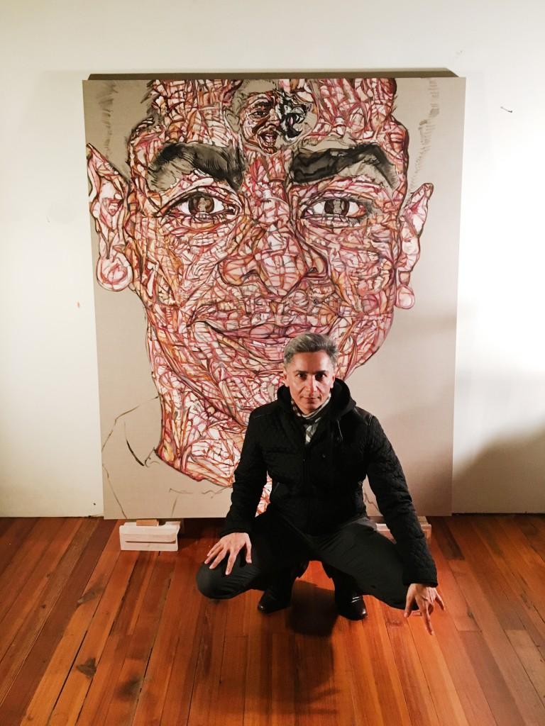 Shaill Jhaveri with Schandra Singh's portrait of him